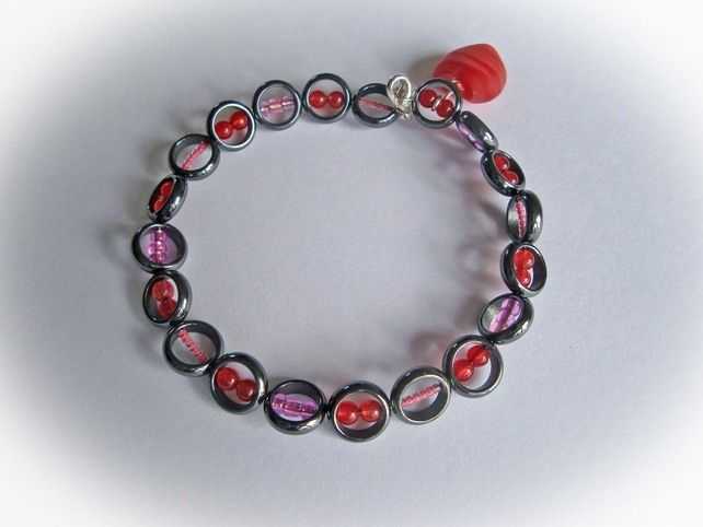 Haematite Bracelet with Red Quartz and Pink Glass beads £9.50