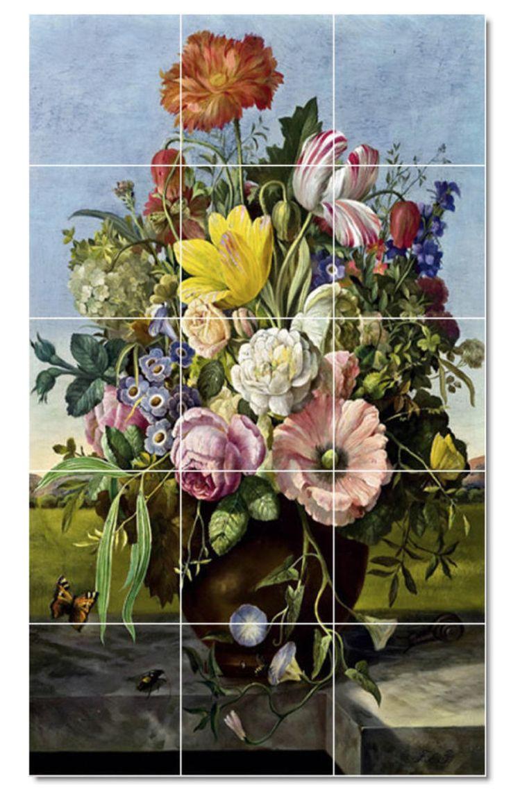 http://www.houzz.com/photos/11674930/Franz-Xaver-Petter-Flowers-Painting-Ceramic-Tile-Mural-46-24x40-traditional-tile-murals