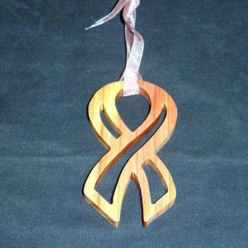 Wood Breast Cancer Awareness Ribbon Ornament Handcrafted Cedar   KevsKrafts - Woodworking on ArtFire