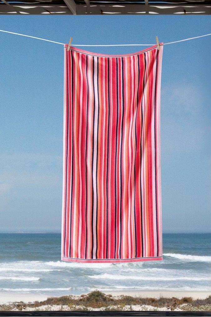 Next Striped Beach Towel Pink Striped Beach Towel Pink Beach