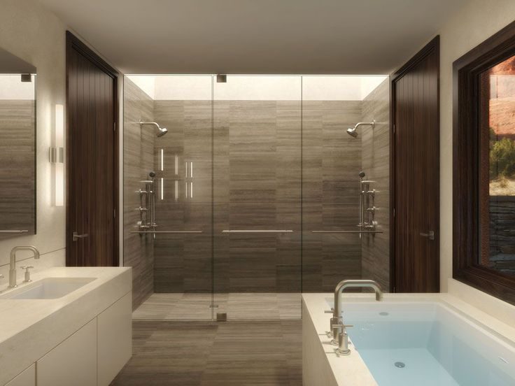 Skylight, double shower, soaker tub, his and hers closets