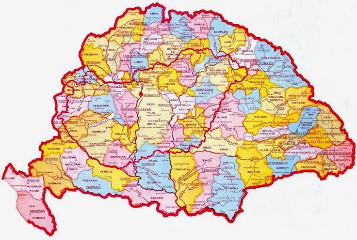 1874: 64 counties of Hungary - Integer Hungary from the independent Kingdom of Hungary was established in 1000 AD to 1920. The Treaty of Trianon  had devastating effects on the Hungarian economy and on Hungary. Founded in 896, a peaceful multi-ethnic state for over 1100 years and her borders were virtually unchanged until 1920.