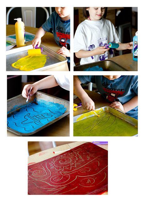 Things to Make - Q-Tip Printmaking - This will be great for messy art month at Beavers.
