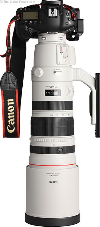 Canon EF 200-400mm f/4 L IS USM Ext 1.4x Lens with Hood mounted on Camera.  For more images and information on camera gear please visit us at www.The-Digital-Picture.com