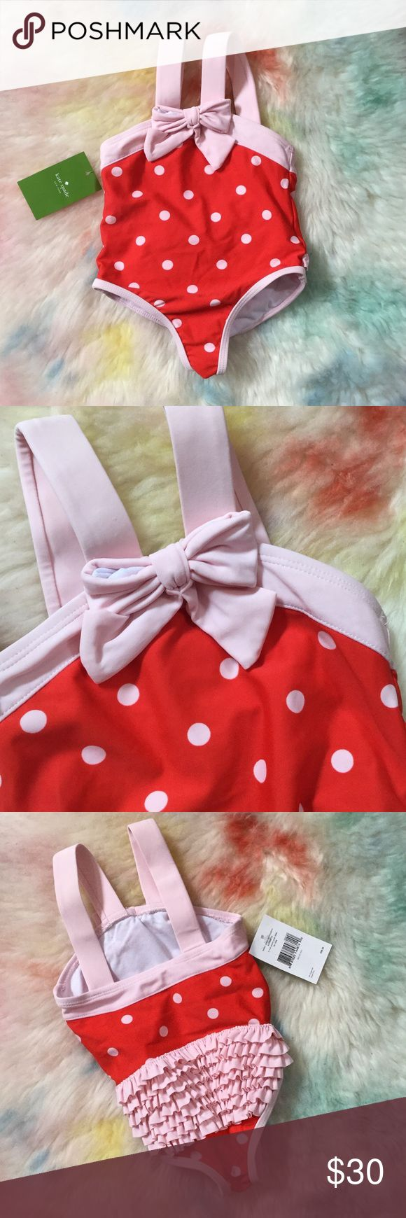 722🐰🖤 Kate's Spade Baby Polka Dot One Piece Red/ pastry pink combo , ruffle back detail , no flaws , new with tags, 95% polyester 5% elastane fully lined kate spade Swim One Piece