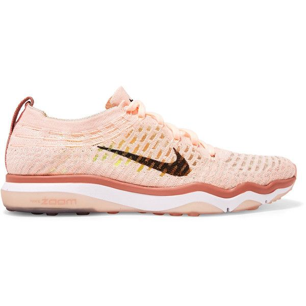 Nike Air Zoom Fearless Flyknit sneakers (210 NZD) ❤ liked on Polyvore featuring shoes, sneakers, flyknit shoes, pink sneakers, rubber sole shoes, nike shoes and lace up sneakers