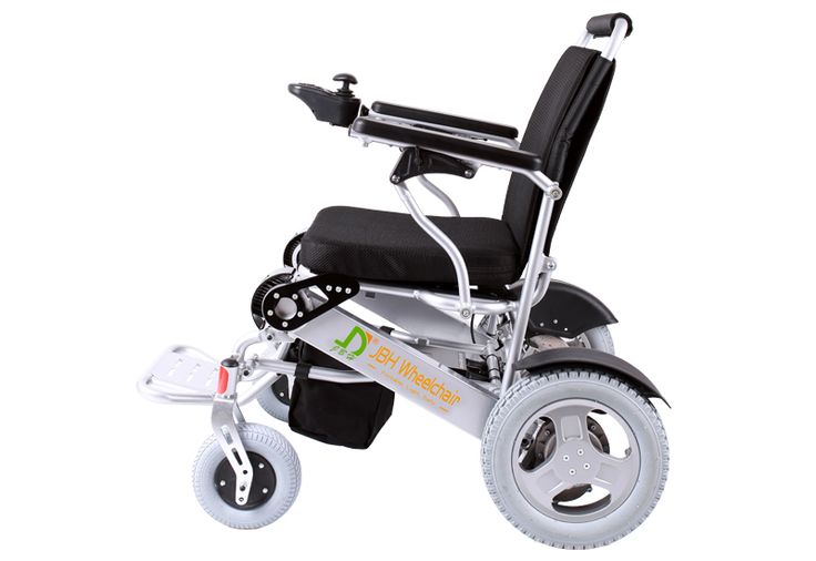 Portable lightweight folding wheelchair from JBH Wheelchair, D09 supports up to 180kg of weight. Made up of aluminum alloy D09 has folding time of 5 seconds. With sterdy metal wheel hub, wheelchair has solid hard-wearing rear tires. D09 has intellegent electromagnetic break to ensure pessanger safety.