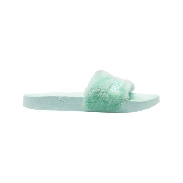 Women's Puma x Rihanna Fenty Fur Slide Sandals | Finish Line ($90) ❤ liked on Polyvore featuring shoes, sandals, fur shoes, fur sandals, fur slide sandals, puma shoes and puma footwear