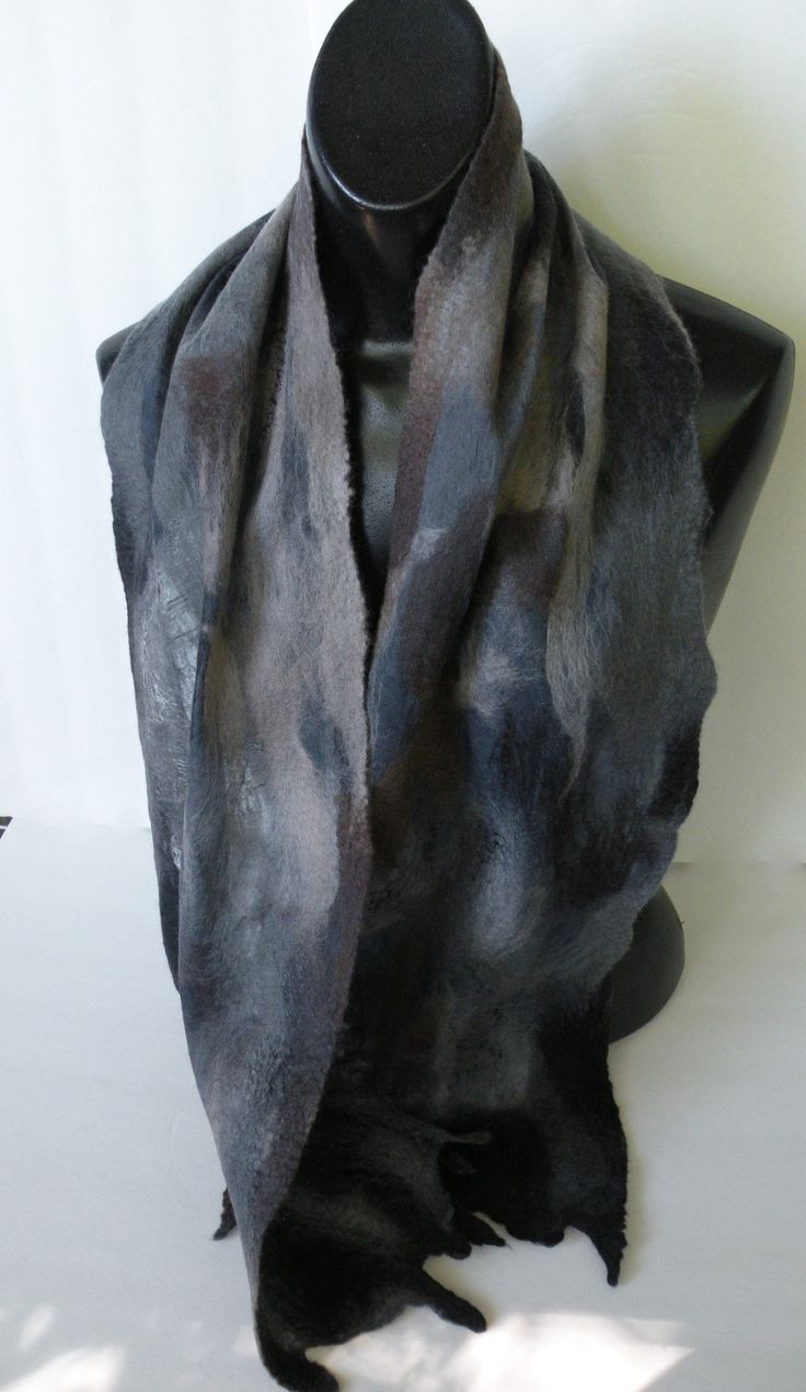 see the scarf ends -  natural shapes created by the felting process, lovely
