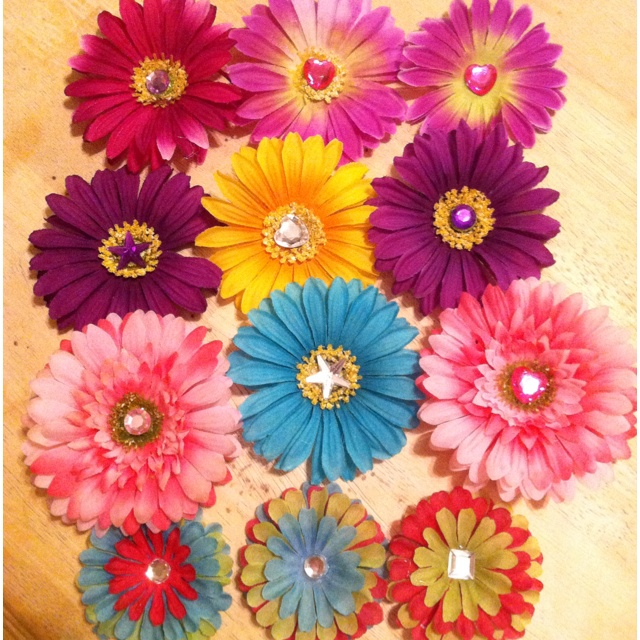 how to make flower hair clips out of fake flowers