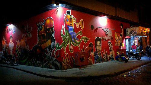 Thessaloniki - Macedonia - Ladadika street art  #Macedonia #streetart #art #murals #pool #snooker