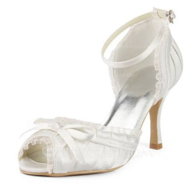 Wedding Shoes - $52.99 - Women's Satin Stiletto Heel Sandals With Bowknot Buckle Stitching Lace (047005497) http://jjshouse.com/Women-S-Satin-Stiletto-Heel-Sandals-With-Bowknot-Buckle-Stitching-Lace-047005497-g5497