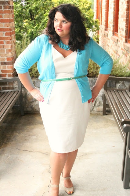 Hems for Her Trendy Plus Size Fashion for Women: Dress Your Curves WHITE FORM FITTING DRESS WITH LAYERS, TOURQUOISE CARDIGAN AND A THIN BELT