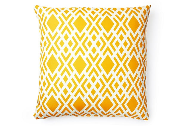 20x20 Geometric Outdoor Pillow, Yellow on OneKingsLane.com20X20 Outdoor, 20X20 Geometric, Yellow Pillows, Outdoor Pillows, Yellow Fabrics, Future Bedrooms, Geometric Outdoor, Design Pillows, Bright Yellow