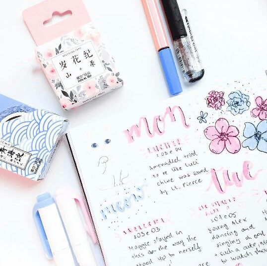 Washi tapes from Kawaii Pen Shop in a beautiful bullet journal weekly spread by @laura.journal.