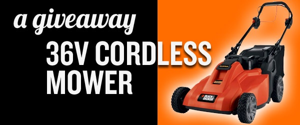 Win this. This week only. http://dadand.com/2012/04/23/giveaway-black-decker-mower/Weeks Only