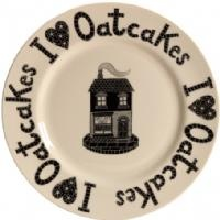 A new design on a large plates from Moorland Pottery, made in Stoke on Trent idolising The Wonderful Oatcake  Shop - with I love Oatcakes around the outer edge. Available at Barewall £19.95