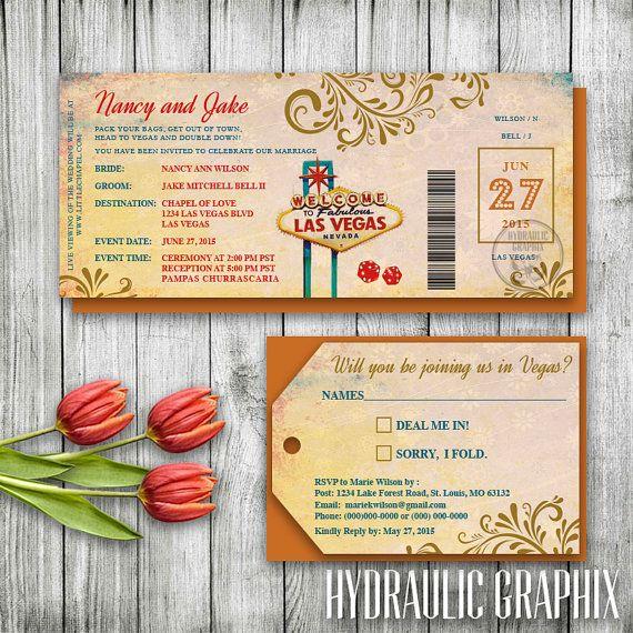 Las Vegas Wedding Invitation Ticket, Las Vegas Invitation Set, Travel Wedding Invitation and Luggage Tag RSVP, Destination Wedding Printable