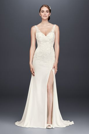 e20f033d864 This chic stretch-crepe sheath wedding gown features airy illusion tank  straps
