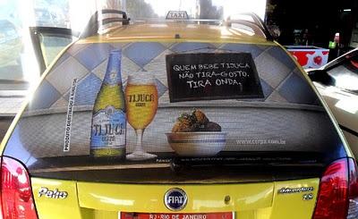 Depois de diversas ações para as cervejas Skol, Skol 360º, Antarctica, Antarctica SubZero, Bohemia, Heineken, Cintra e Nobel, agora é a vez da cerveja Paraense Cerpa circular nos vidros traseiros dos táxis do Rio de Janeiro.     A campanha é para o lançamento da cerveja premium Tijuca que acontece em 100 táxis de toda a Zona Sul do Rio. #cerpa