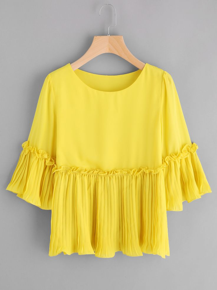 Shop Frill Detail Pleated Cuff And Hem Smock Top online. SheIn offers Frill Detail Pleated Cuff And Hem Smock Top & more to fit your fashionable needs.
