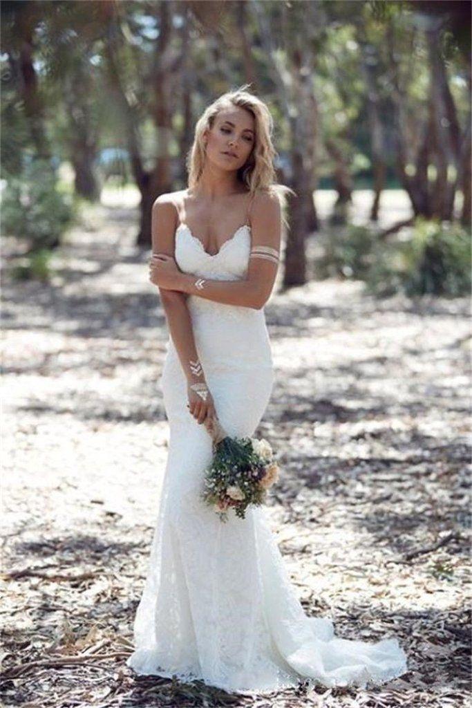 BOHEMIAN MERMAID LACE WEDDING DRESS SPAGUETTI STRAPS OPEN BACK WEDDING DRESS BOHEMIAN WEDDING DRESS - Hippie BLiss