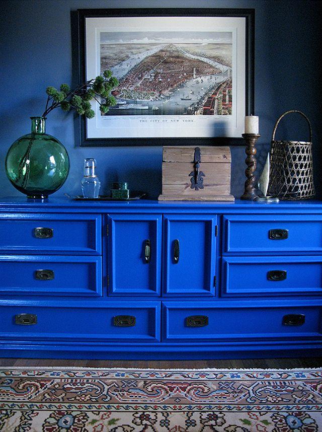 JILL DANYELLE ART + DESIGN  a favorite shot. blue dresser, floral kilim, vignette