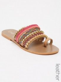 Wild Alice by Queue Leather Strappy Beaded Sandals Mid Pink