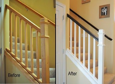 DIY banister makeover. In case I ever convert to dark hardwood. My rails would need to be stained dark like this.