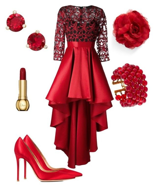 """#redprom"" by sanikova on Polyvore featuring Christian Pellizzari, Gianvito Rossi, Cara, Kate Spade and Chanel"