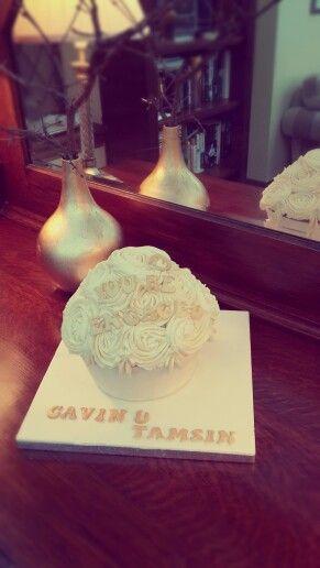 Enormous Jack Daniels and Passionfruit Flavoured Engagement Cupcake. Delicious!