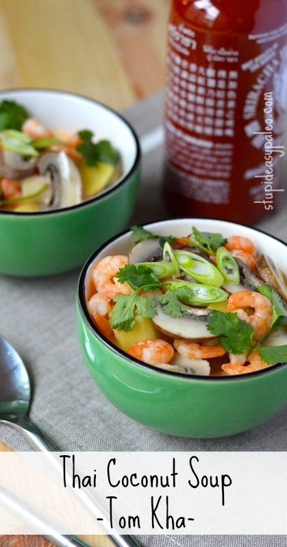 Thai Coconut Soup (Tom Kha) | Stupid Easy Paleo. Click here for the simple recipe >> http://stupideasypaleo.com/2013/05/10/thai-coconut-soup-tom-kha/ #paleo #realfood #coconut