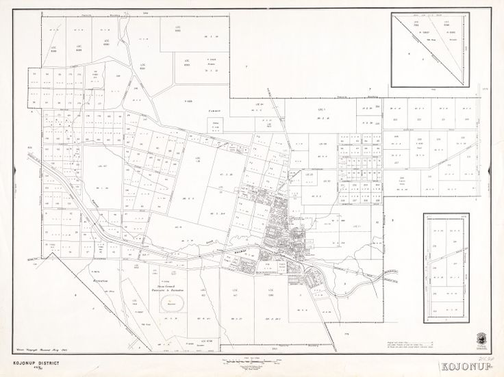 KOJONUP May 1945 Cadastral map showing land use and zoning. Includes extensions of townsite as insets. Shows original lots and lots under Transfer of Land Act. Part of collection: Townsite maps, Western Australia. https://encore.slwa.wa.gov.au/iii/encore/record/C__Rb1922504