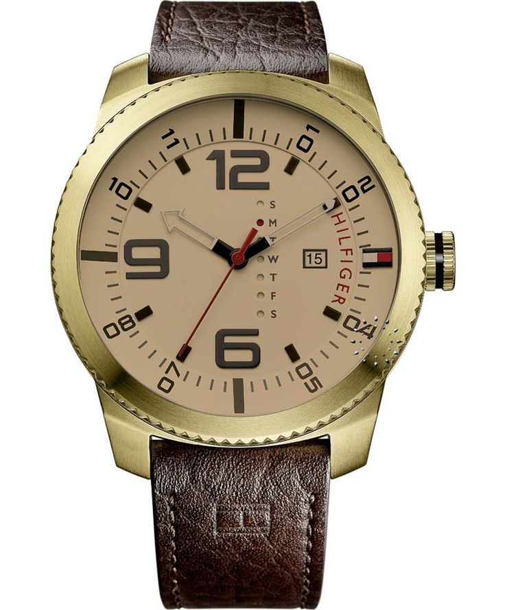TOMMY HILFIGER Ash Gold Brown Leather Strap Η τιμή μας: 132€ http://www.oroloi.gr/product_info.php?products_id=37931