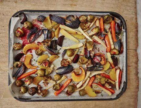 Head for veg! Roasted Vegetables with White Miso Gravy is a perfect pairing to Winter roasts.