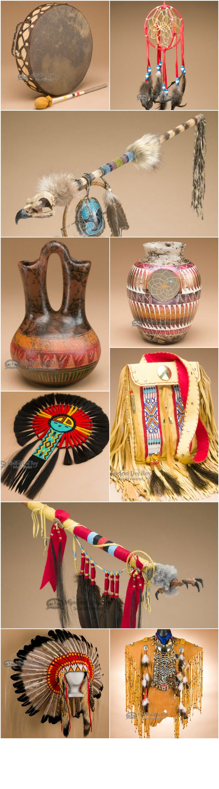 Native American handcrafts, artifacts, regalia, peace pipes, dream catchers, drums, pottery, medicine bags.