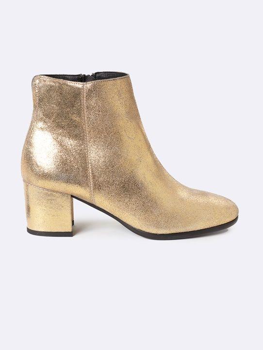Boots femme en cuir bout carré
