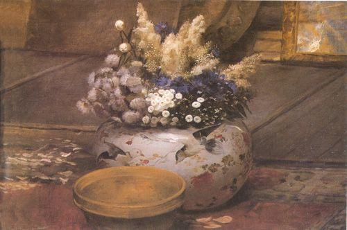FLORES JAPONESAS, 1888 Óleo sobre tela 59 x 92 cm Museo Nacional de Bellas Artes