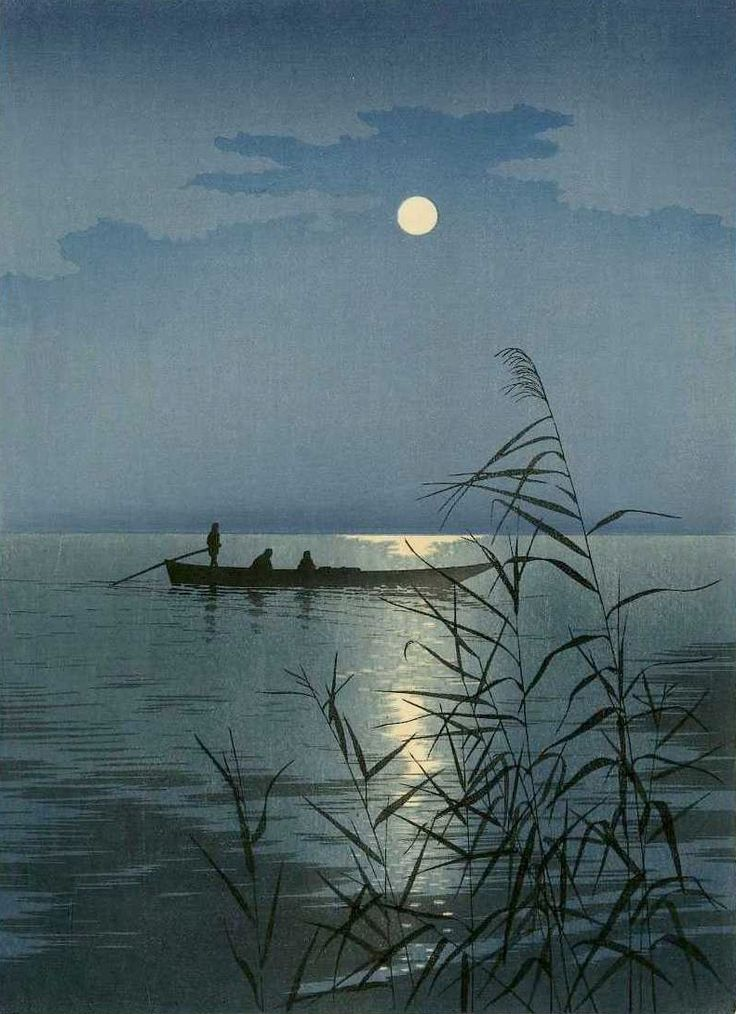"arsvitaest:  ""Moonlit Sea"" Author: Shoda, Koho (Japanese, 1870-1946)Date: ca. 1910-20Medium: Color woodblock print"