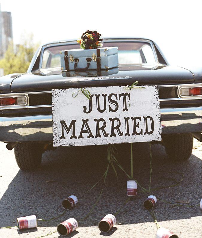 just married: Ideas, Classic Cars, Vintage Cars, Weddings, Marry Bride, Vintage Signs, Getaways Cars, Wedding Cars, Just Marry