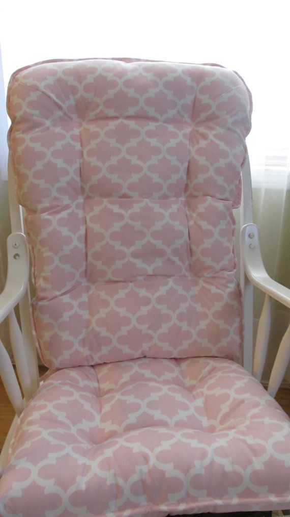 READY TO SHIP Glider or Rocking Chair Cushions Set in Bella Pink Pastel  White Quatrefoil  Baby Nursery Rockers  Dutailier   Glider cushions  Rocking  chair  READY TO SHIP Glider or Rocking Chair Cushions Set in Bella Pink  . Rocking Chair Cushion Sets For Nursery. Home Design Ideas