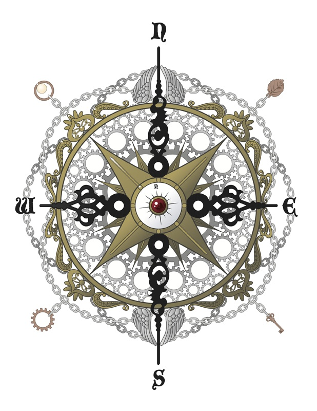 Steampunk-esque compass. Would love this as a tattoo.