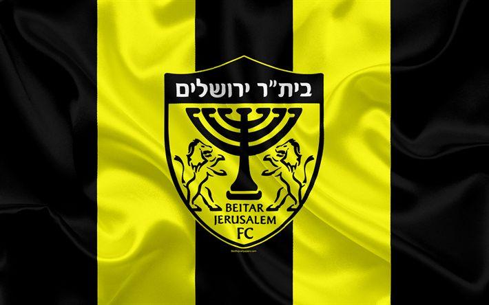 Download wallpapers Beitar Jerusalem FC, 4k, Israeli football club, emblem, Beitar logo, Ligat haAl, football, Israeli Football Championships, Jerusalem, Israel, silk