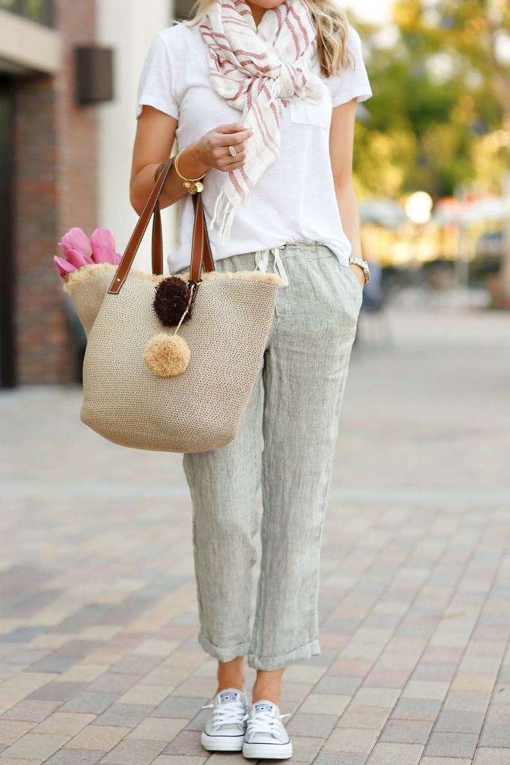 Fun, Casual, Summer Look - Caslon Stripe Linen Blend Scarf in coral, Caslon Linen Tie Front Crop Pants in olive/ivory mini stripe, Converse Chuck Taylor Shoreline Sneaker, Caslon Relaxed Slub Knit U-Neck Tee, and straw tote (all at Nordstrom)