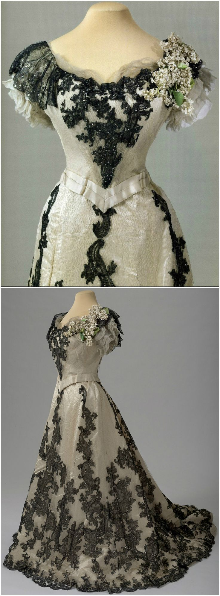 Ball gown of Empress Alexandra Fyodorovna, by G. & E. Spitzer Atelier, Vienna, Austria, 1900-01, at the State Hermitage Museum