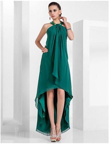 Australia Formal Evening Dress Dark Green Plus Sizes Dresses Petite A-line Princess Halter Asymmetrical Short Knee-length Chiffon Formal Dress Australia