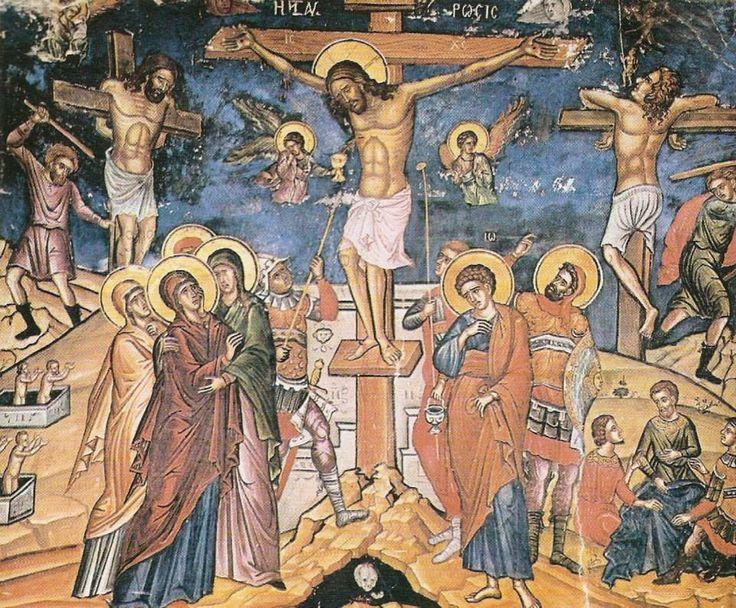Η Σταύρωση, 1546, Τοιχογραφία Καθολικού Μονής Σταυρονικήτα - The Crucifixion, 1546, fresco of the katholikon of Stavronikita Monastery