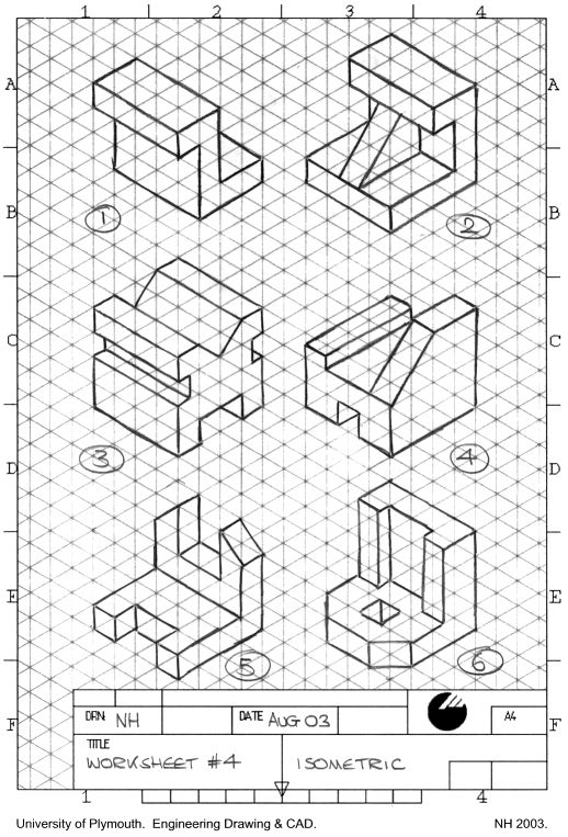 Isometric Drawing Exercises on orthographic projection of basics