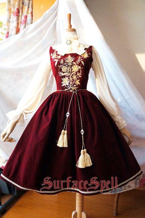 "SurfaceSpell ""House of Bourbon"" Original Baroque Embroidery JSK, Multiple Colours. Antique Lolita Dress"