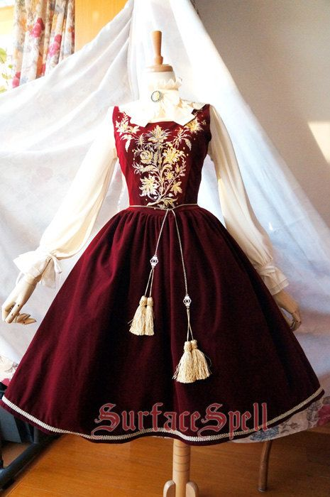 "SurfaceSpell ""House of Bourbon"" Original Baroque Embroidery JSK, Multiple Colours. Antique Lolita Dress"